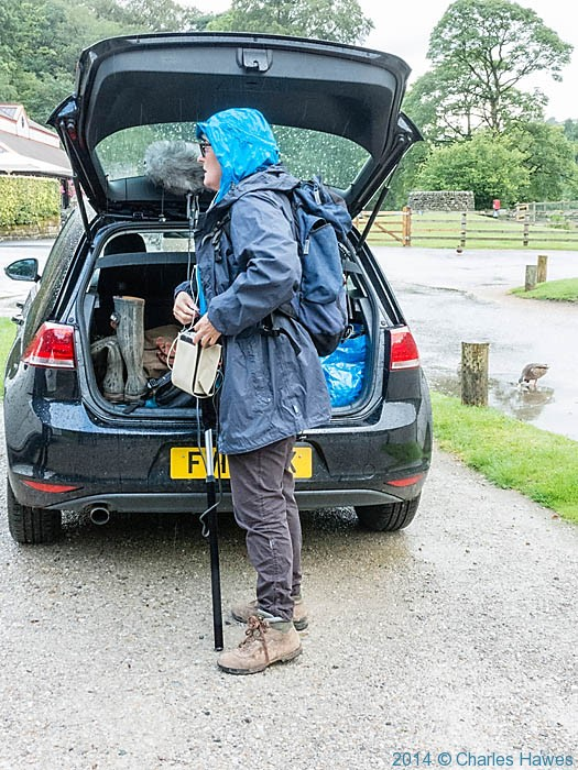 Lucy Lunt, producer of BBC Radio 4 Ramblings programme at Cavendish Pavilion, recording Clare Balding walking The Dales Way