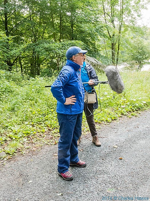 Clare Balding recording a walk on the Dales Way for BBC Radio 4 Rambklings programme, photographed by Charles Hawes