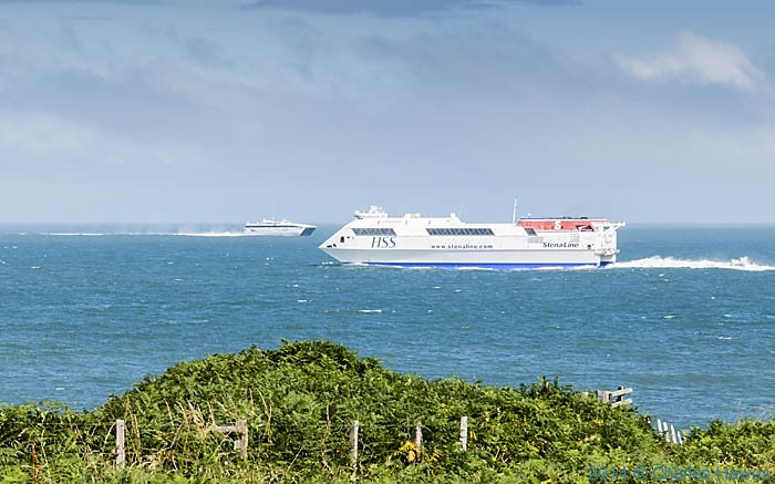 Ferries off the coast at Holyhead, photographed from The Wales Coast Path by Charles Hawes