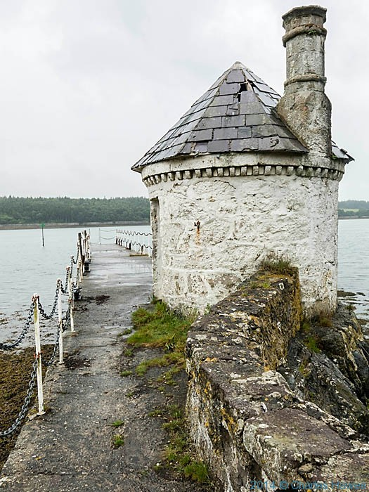 Building on pier near Pwll fanogl photographed from The Wales Coast Path on Anglesey by Charles Hawes