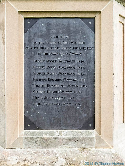 Memorial plaque to those who died building the Britannia Bridge, photographed by Charles Hawes