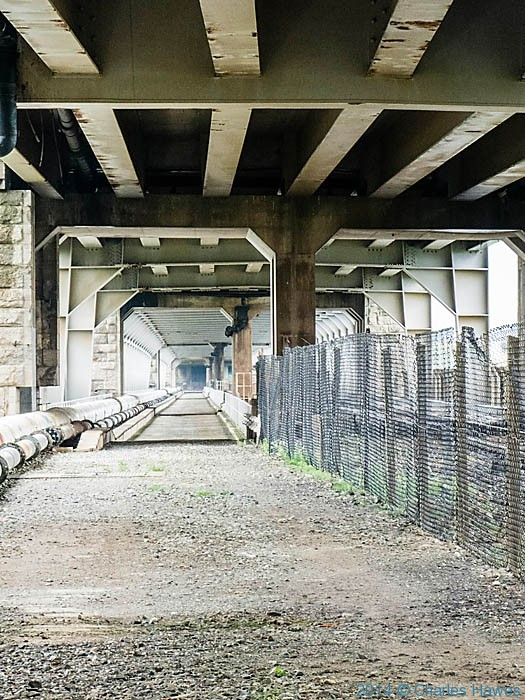 Underneath the Britannia Bridge, Anglesey, photographed by Charles Hawes