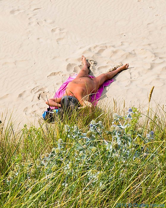 Sunbather on Penrhos Beach, Anglesey, photographed by Charles Hawes