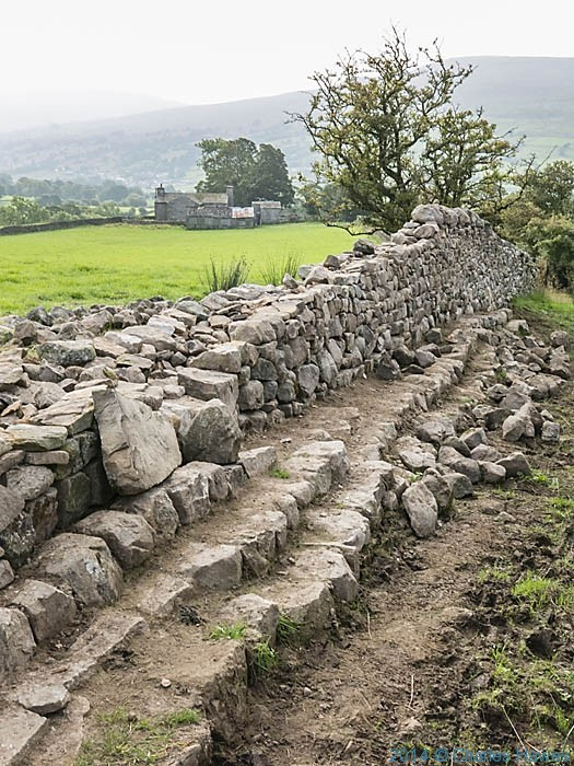 Wall building on the Dales High Way, Cumbria, photographed by Charles Hawes