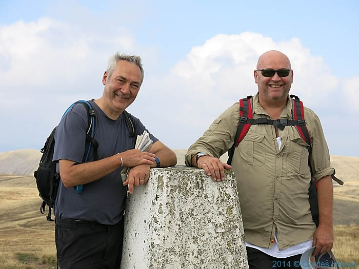 Charles Hawes and Bob Pinder at the trig point of The Calf, Howgill Fells, Cumbria