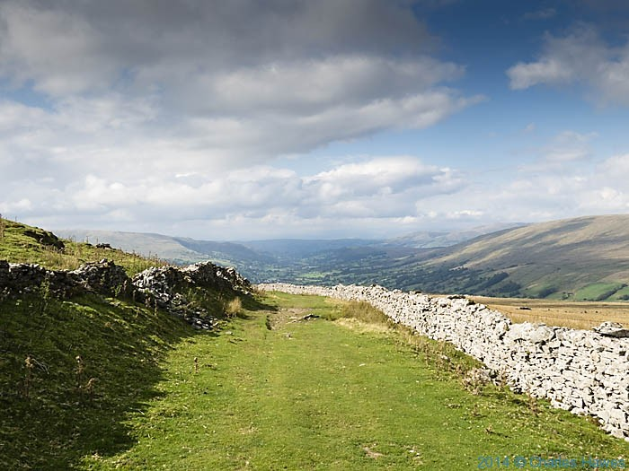 Cravan Way as it descneds to Dent, photographed from The Dales High Way by Charles Hawes