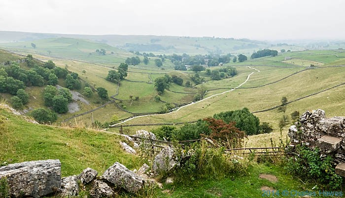 View from the top of Malham Cove, photographed by Charles Hawes