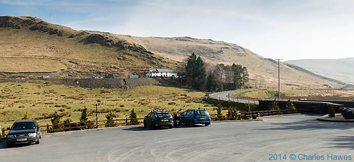 Car park at Eisteddfa Gurig for Plynlimon, photographed by Charles Hawes