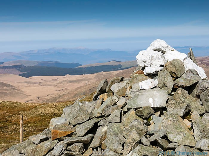 Cairn east of Plynlimon looking north, photographed by Charles Hawes
