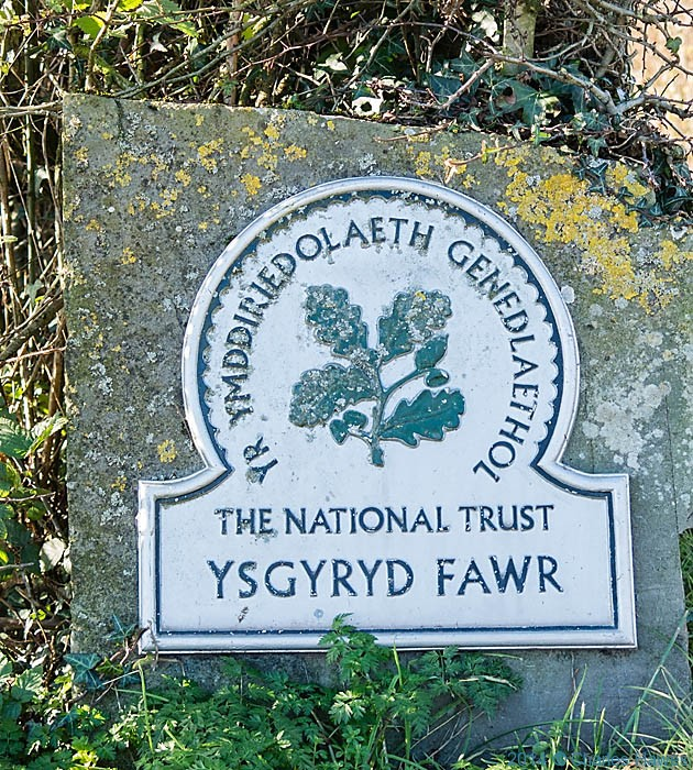 National Trust sign by the car park for The Skirrid (Ysgyryd), photographed by Charles Hawes
