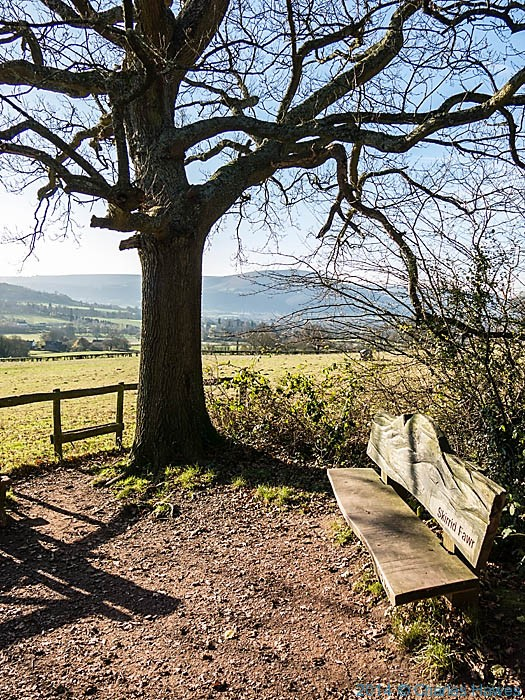 Bench at the base of The Skirrid ( Ysgyryd Fawr) in Monmouthshire, photographed by Charles Hawes