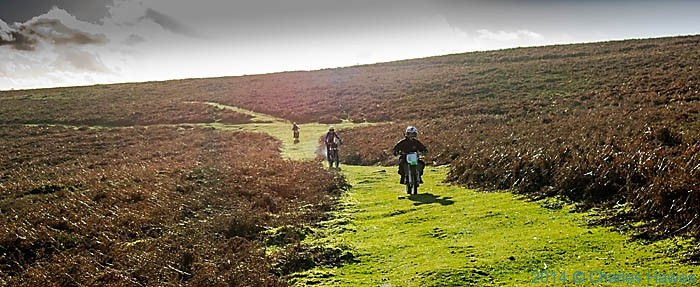 Motocycles on footpath of Sugar Loaf, Abergavenny, Photographed by Charles Hawes