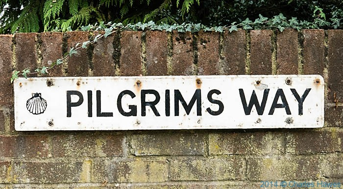 Sign for the Pilgrims Way near Old Wives Lees, photographed by Charles Hawes