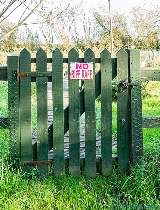 Sign of gate of mooring on the Stour in Sandwich, photographed from The Saxon Shore way by Charles Hawes