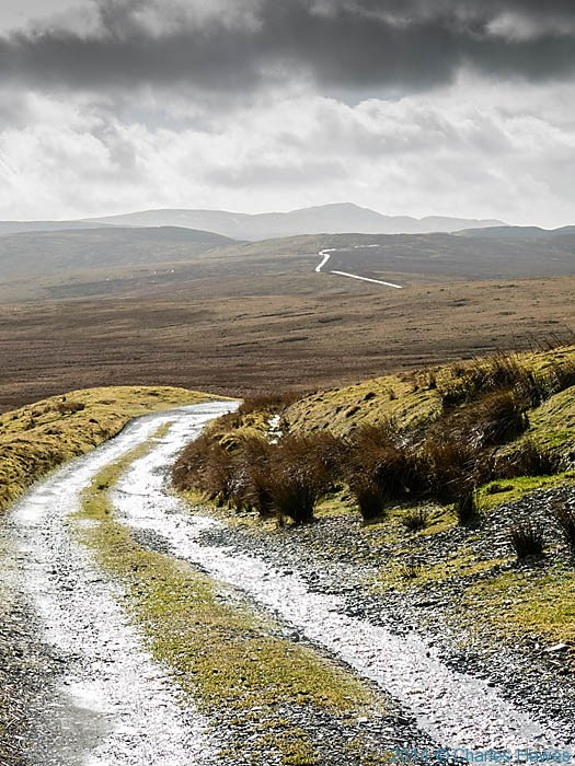 Track to Glaslyn from the mountain road near Dylife, photographed by Charles Hawes