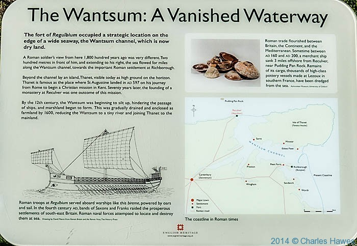 Explanatory board for the Wantsum, photographed by Charles Hawes at Reculver.