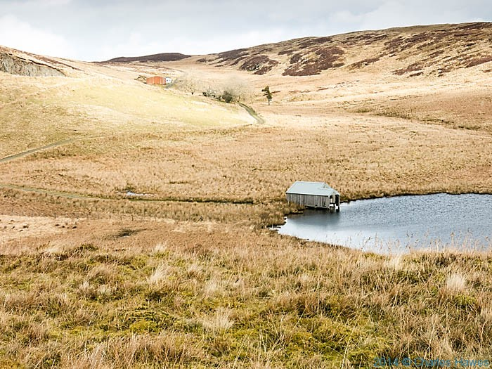 Bugeilyn lake and boat house, Powys, photographed by Charles Hawes