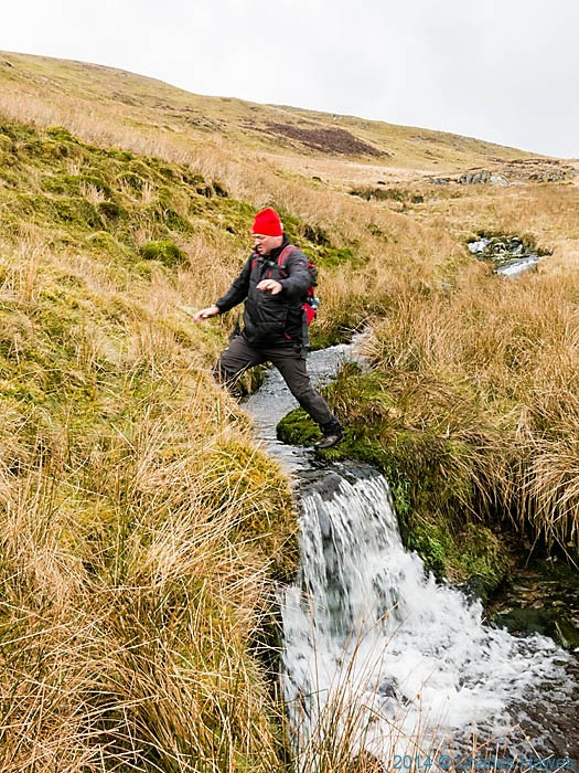 Crossing a tributary of the Afon Hengwm, Powys, photographed by Charles Hawes
