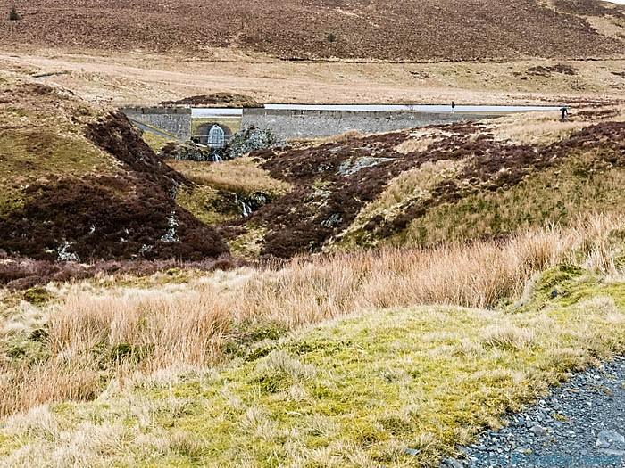 Dam at Lyn Cwm-byr, Powys, photographed by Charles Hawes