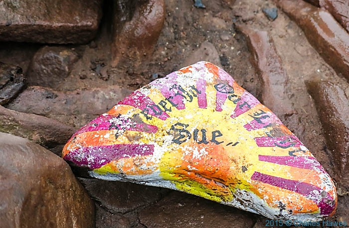 Painted stone on Summit of Pen-Y-Fan, Brecon Beacons National Park, Wales, photographed by Charles Hawes
