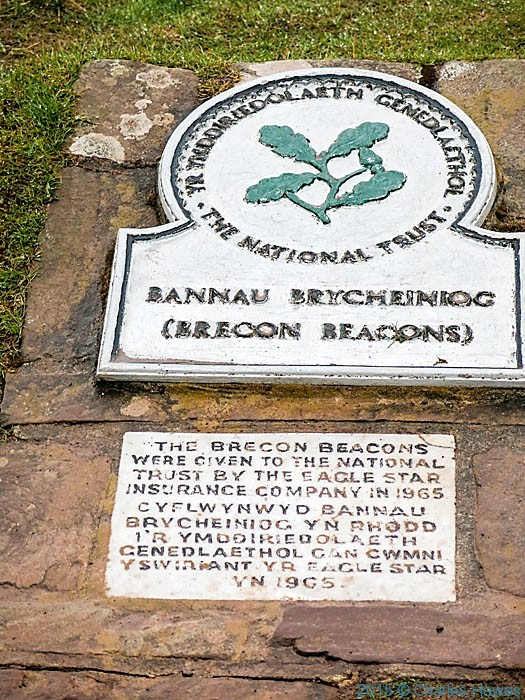 National Trust plaque near Storey Arms, Brecon Beacons National Park, photographed by Charles Hawes