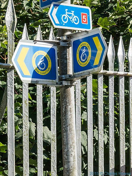 Sign post for the Wales Coast Path, photographed by Charles Hawes