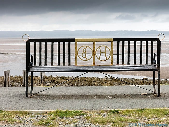 Seat near the Llanfairfechan promenade, photographed from The Wales Coast Path by Charles Hawes