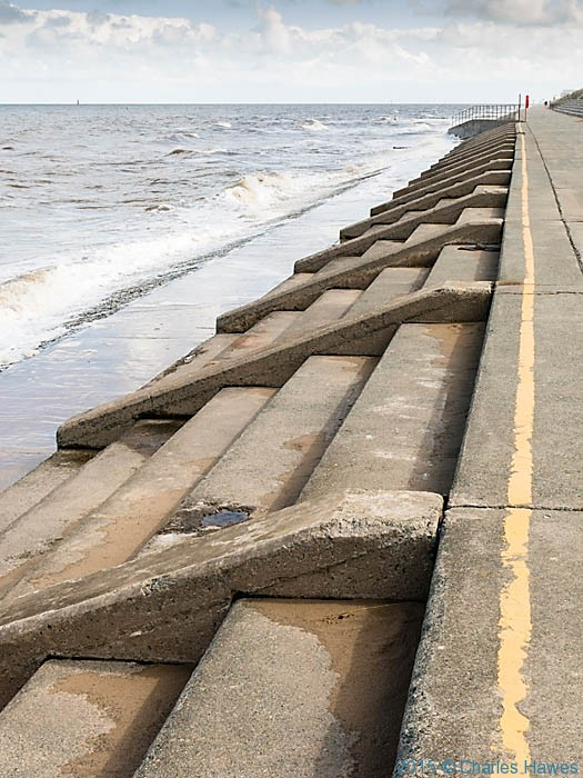 Breakwater between Rhyl and Prestatyn, photographed from The Wales Coast Path by Charles Hawes