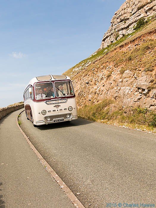 The Great Orme Tour Bus, photographed from The Wales Coast Path by Charles Hawes