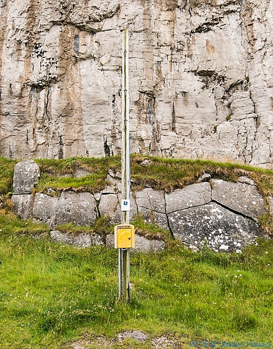Emergency phone point on the Great Orme, photographed from The Wales Coast Path by Charles Hawes
