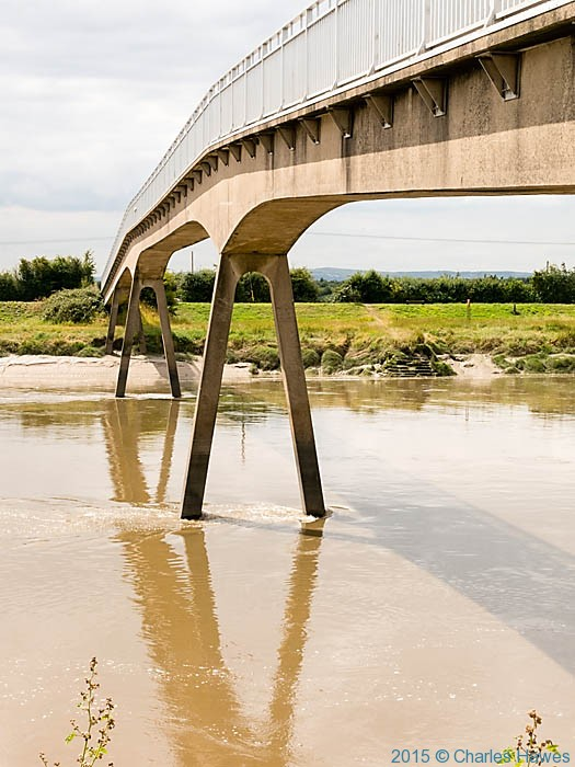 Saltney Footbridge over the River Dee, photographed from The Wales Coast Path by Charles Hawes
