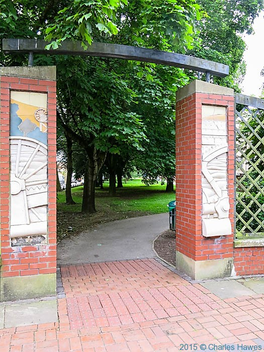 Cardiff Park entrance, photographed from The Cambrian Way by Charles Hawes