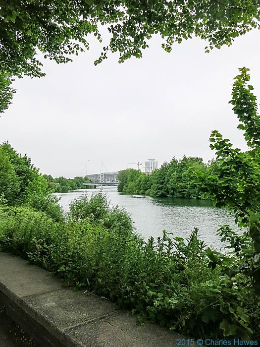 View to the Millenium stadium from the River Taff, photographed from The Cambrian Way by Charles Hawes