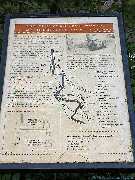 Pentyrch Iron Works information board, photographed from the Cambrian way by Charles Hawes