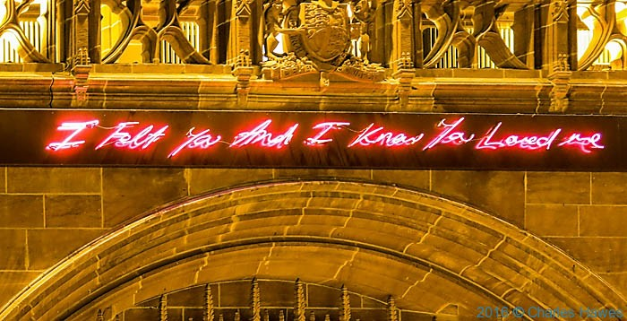 Work by Tracey Emin in the Anglican Cathedral, Liverpool, photographed by Charles Hawes
