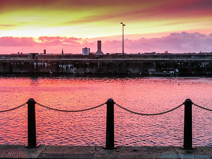 Sunset over Princes Dock, photographed by Charles Hawes