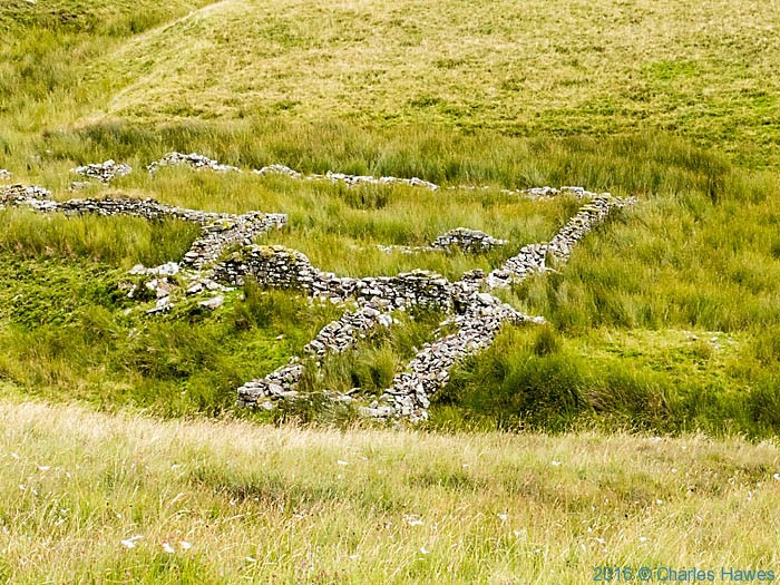 Sheepfolds above Ystradfellte reservoir, photographed from The Cambrian Way by Charles Hawes