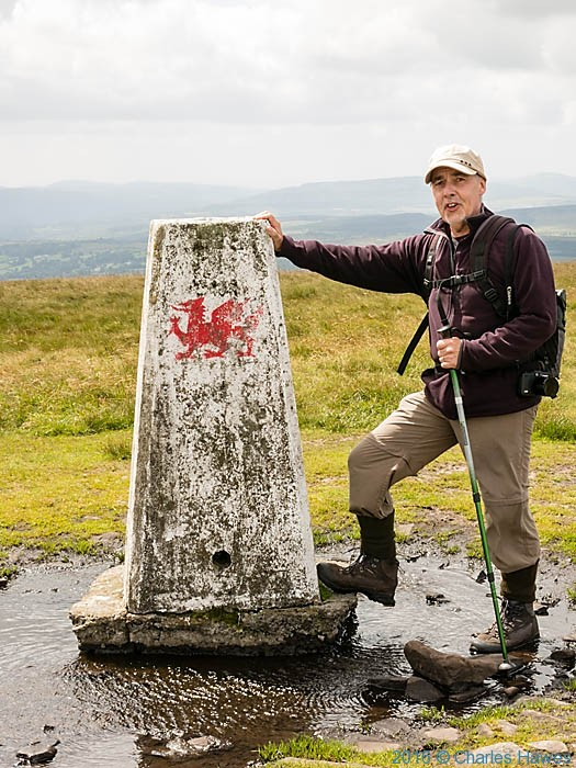 Trig Point at Fan Fawr, photographed on the Cambrian Way by Charles Hawes