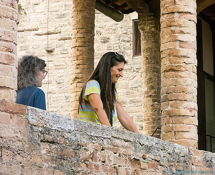 Tour Guide for IWW at San Gimignano, Tuscany, photographed by Charles Hawes