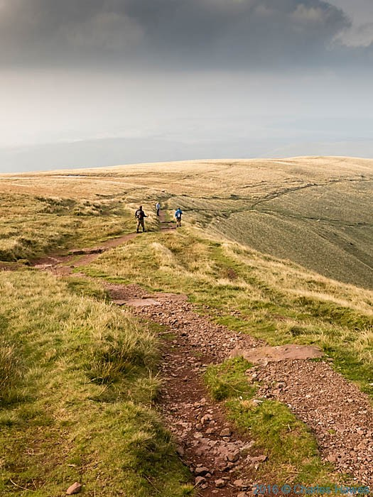 Descending the Cambrian Way from above Llyn y Fan Fach, photographed by Charles Hawes