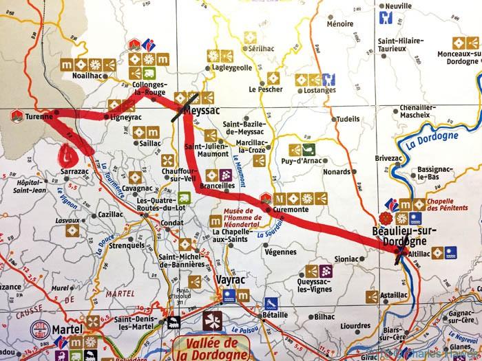 Route for walk between Meyssac and Beaulieu-sur-Dordogne
