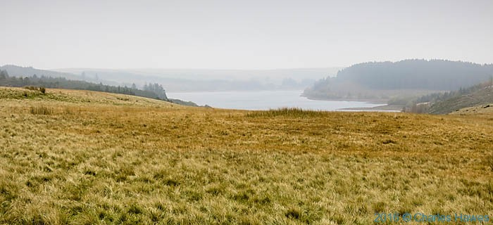 Western end of the Usk Reservoir in Carmarthenshire, photographed from The Cambrian Way by Charles Hawes