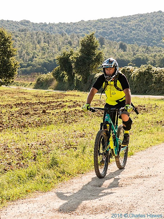 Cyclist on the Via Francigena near Abbadia a Isola, Tuscany, photographed by Charles Hawes