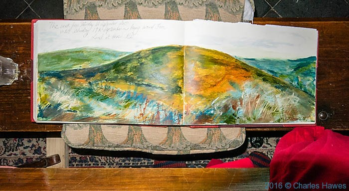 Visitor book of the Ty'n Cornel in The Doethie valley photographed from the Cambrian way by Charles Hawes