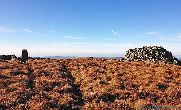 Trig point an Cairn on Garn Gron photographed from the Cambrain way by Neil Smurthwaite
