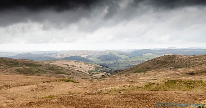 View to the Ystwyth Valley from Domen Milwyn, photographed from The Cambrian Way by Charles Hawes