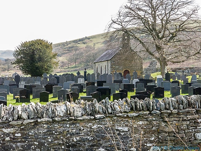 St Mary's church, Strata Florida, photographed from The Cambrian Way by Charles Hawes
