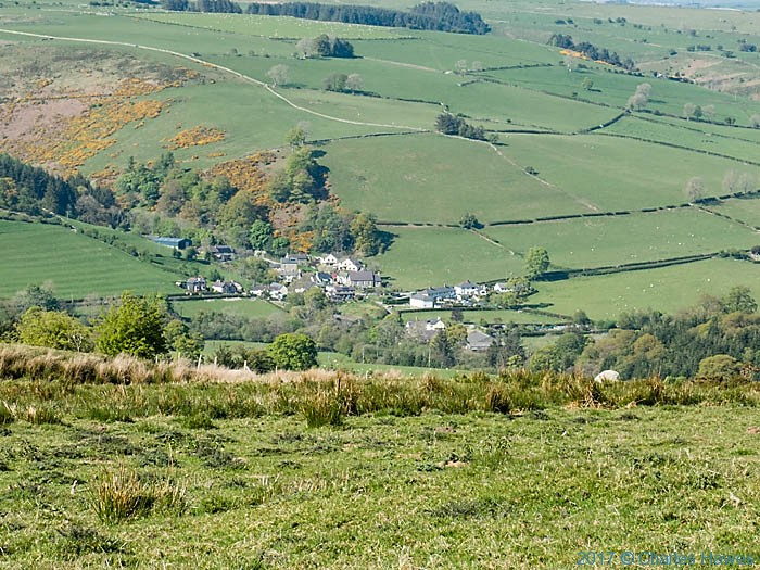 view of Tregeiriog from the Upper Ceiriog Way, photographed by Charles Hawes