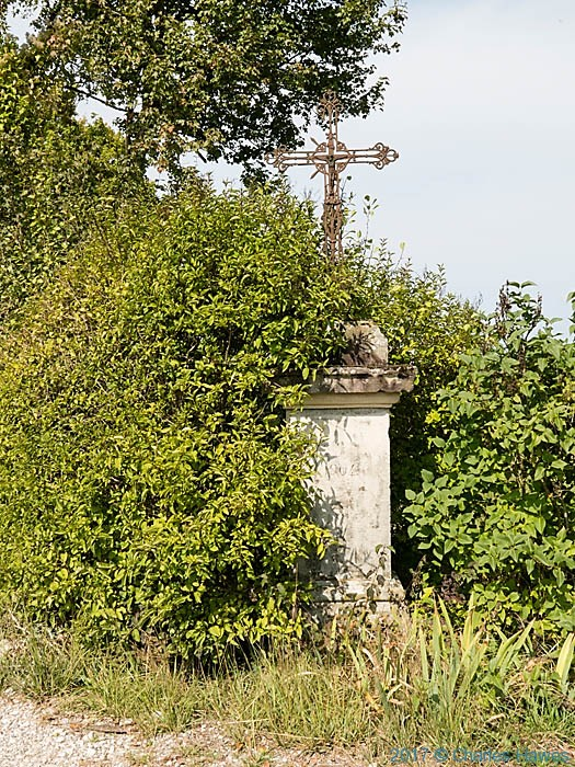 Metal roadside cross near Vaour, France, photographed by Charles Hawes