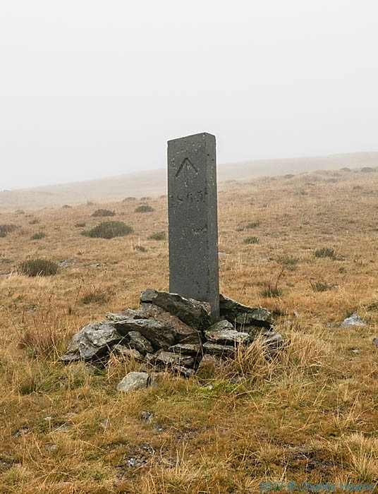Boundary stone of Watkin Williams-Wynne on the Cambrian Way, photographed by Charles Hawes